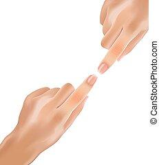 suave, índice, realístico, fingers., mãos, toque