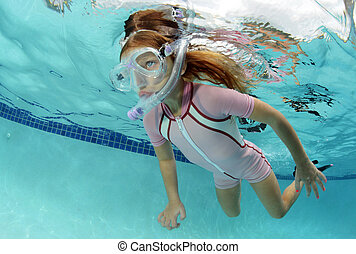 submarinas, criança, piscina, natação