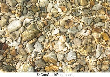 submarinas, fundo, pedras