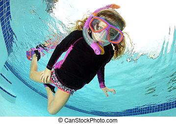 submarinas, menina, jovem, natação