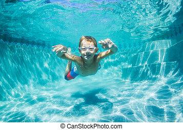 submarinas, menino, jovem, mergulhar, piscina, natação