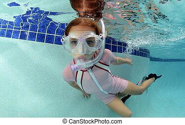 submarinas, piscina, criança