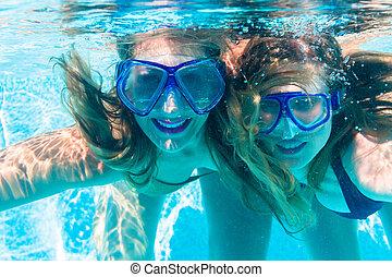 submarinas, recurso, piscina, mergulhar, amigo menina, natação