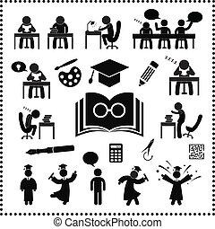 sucedido, estudo, símbolo