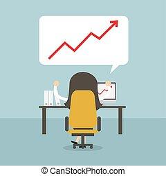 sucedido, executiva, crescimento, chart.