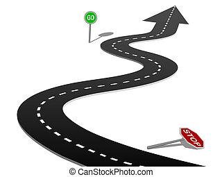 sucesso, curva, sinal parada, ir, progresso, rodovia