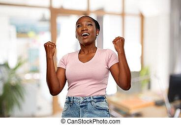 sucesso, mulher feliz, americano, celebrando, africano