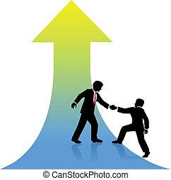 sucesso, negócio, cima, ajudando, pessoa, sócio