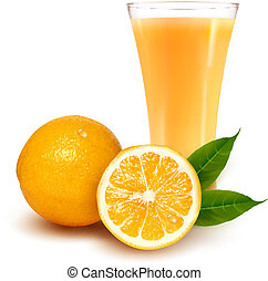 suco laranja, fresco, vidro