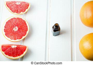 suculento, concept., grapefruit., fresco, óleo, garrafa copo, essencial, spa