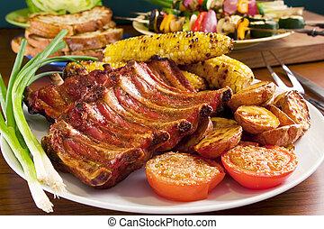 suina, legumes, grelhados, costelas