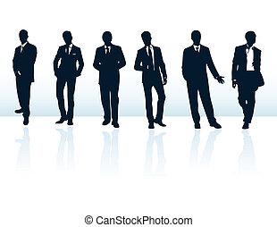 suits., mais, homem negócios, azul, silhuetas, meu, jogo, vetorial, escuro, gallery.