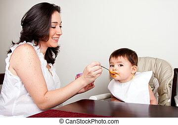 sujo, criança, come