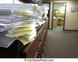sujo, documentos, escritório