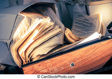 sujo, documentos, papel, sujo