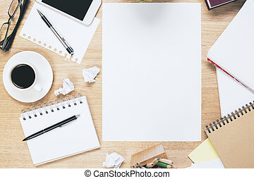 sujo, em branco, papersheet, local trabalho