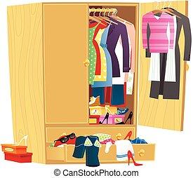 sujo, guarda-roupa, roupa