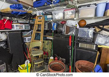 sujo, muito, garagem