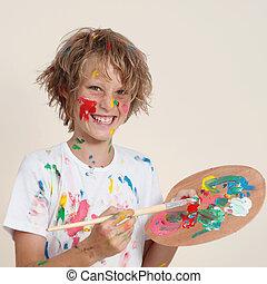 sujo, pintura, pallete, criança
