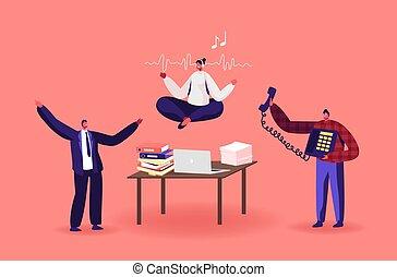 sujo, relaxado, personagem, escritório, empregado feminino, pacata, escritório., trabalhador, executiva, workplace., ioga, partir, meditar