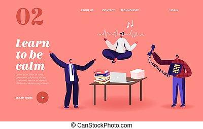 sujo, sobre, aterragem, personagem, escritório, empregado feminino, pacata, workplace., ioga, página, template., escrivaninha, partir, meditar