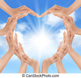 sun., mãos, segurando, vetorial, illustration.
