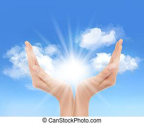 sun., mãos, vector., luminoso