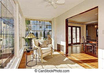 sunroom, antigüidade, luminoso, cadeira