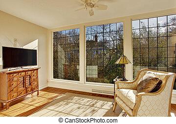 sunroom, antigüidade, luminoso, cadeira, tv