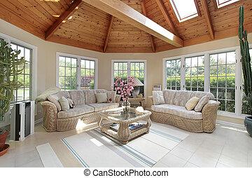 sunroom, lar, luxo