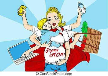 super, caricatura, mãe