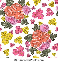 superfície, fundo, branca, padrão, flor, coloridos, seamless, vetorial