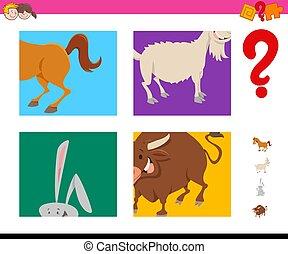 suposição, tarefa, animais, fazenda, caricatura, crianças