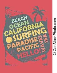 surfando, esquema, camisa, desenho, t, califórnia