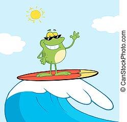 surfando, feliz, mar, rã, enquanto