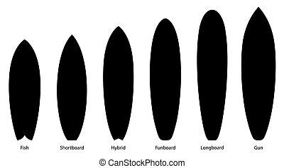 surfboards, vetorial, ilustração, silhuetas, pretas, jogo