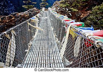 suspensão, nepal, ponte