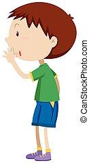 sussurrando, menino, pequeno, camisa verde