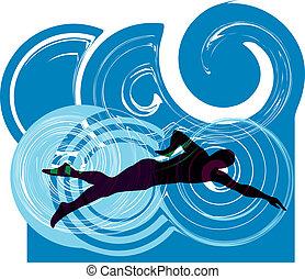 swimming., vetorial, ilustração, homem
