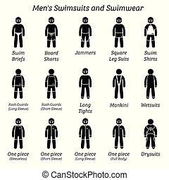 swimwear., homens, swimsuits