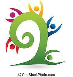 swirly, árvore, trabalho equipe, logotipo