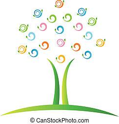 swirly, logotipo, vetorial, árvore, folheia