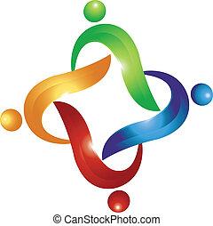 swoosh, logotipo, vetorial, trabalho equipe, pessoas