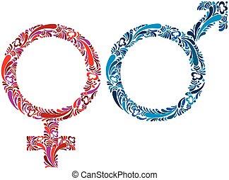 symbols., macho, femininas
