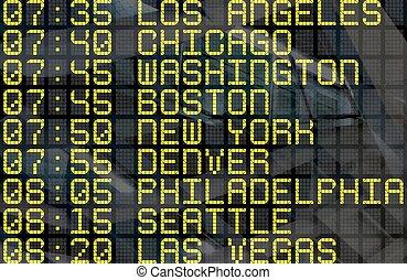 tábua, destinos, partida, eua, aeroporto