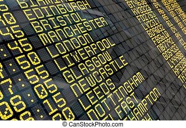 tábua, destinos, unidas, aeroporto, partida, reino