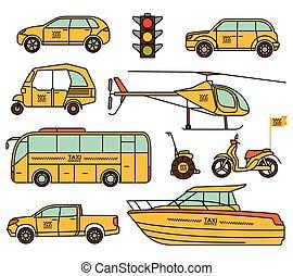 táxi, illustration., ícones, set., vetorial, linha