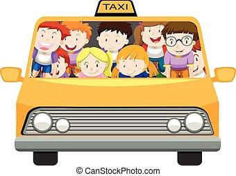 táxi, meninos, meninas, montando
