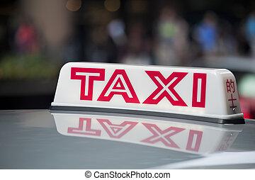 táxi, sinal, telhado, táxi