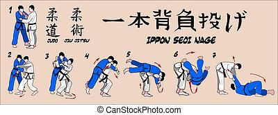 técnica, judo, projeção